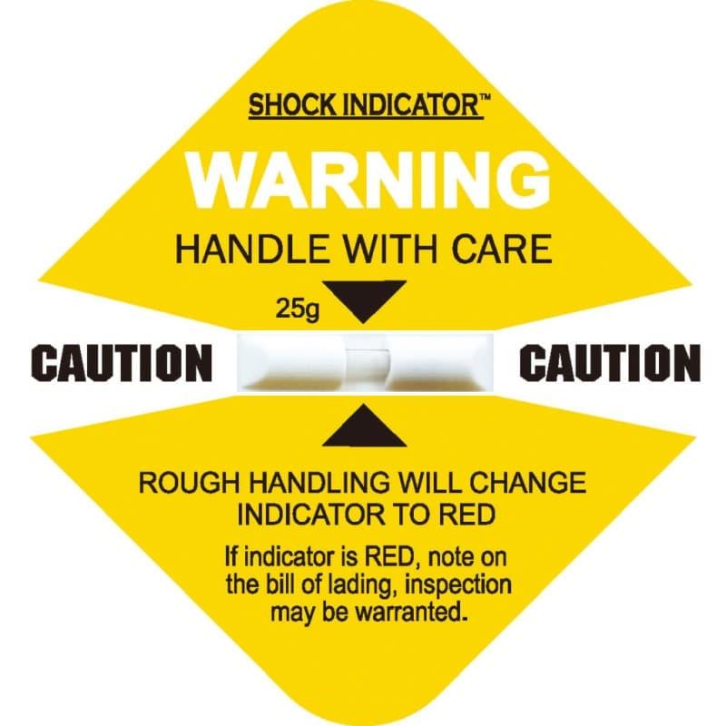 衝擊指示器25g 所有型號裡面最敏感容易變色的標籤貼紙, 變成紅色後無法復原。變色龍標籤貼紙 Shockindicator 物流監視器(俗名 震盪標籤 、震盪顯示器、變色龍),與一般市 面上同性質的產品( shockwatch、tiltwatch、 衝擊指示器 、傾斜指示器 等…)