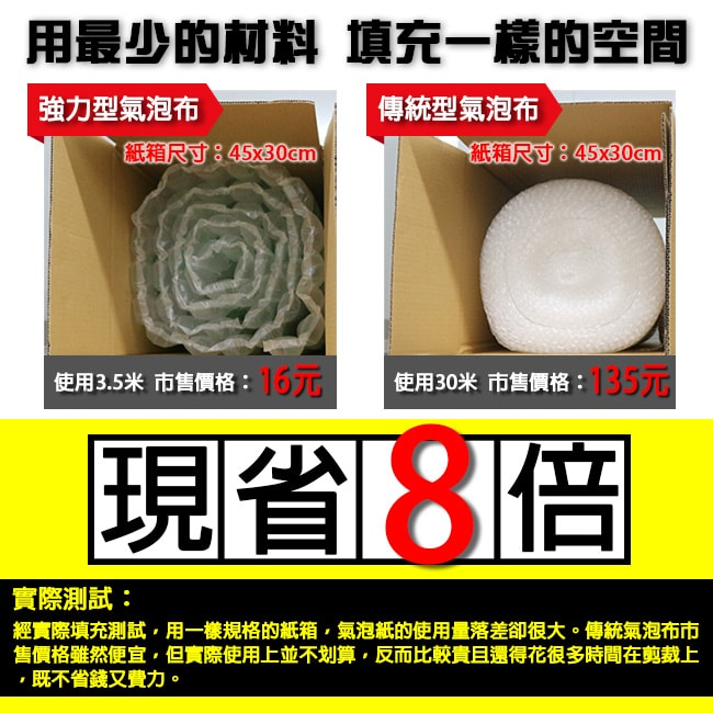 強力小氣泡布是一種塑膠緩衝包裝材料,又稱為緩衝氣泡布、氣泡布、氣泡紙、泡泡紙、泡泡袋、氣泡墊。推薦您使用這款強力氣泡布,相比於傳統氣泡布,這款強度更好,有預製點斷線,好撕好用。有效減少包裝成本與運送成本,強力氣泡布是箱內填充及貨物緩衝包裝保護的最佳選擇。