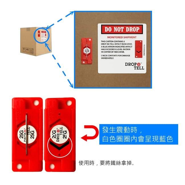 物流運輸監控相關商品 由美國生產商製造的Drop N Tell產品,中文名為防震貼標籤(以下簡稱),別名為震動標貼、震動顯示貼、震動感知器、防震動顯示器、衝擊指示器、傾倒指示器等。